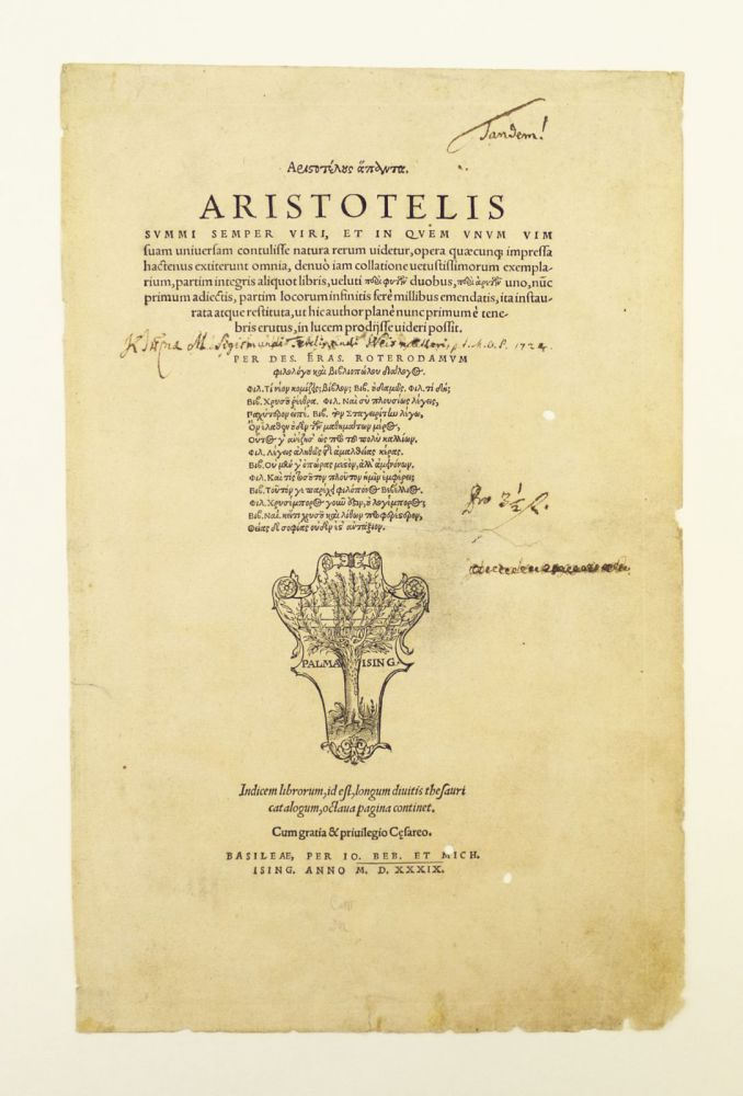 "TITLE PAGE FROM ""OPERA."" PRINTED LEAF, ARISTOTLE."