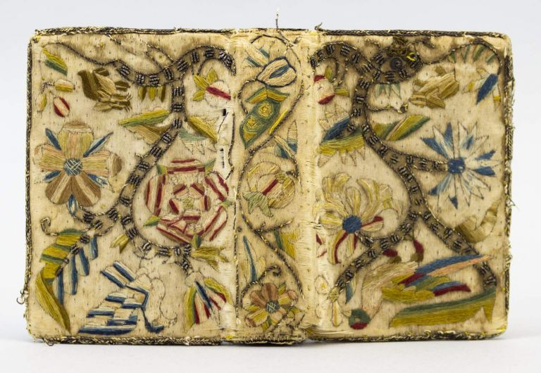 THE WHOLE BOOK OF PSALMES, COLLECTED INTO ENGLISH MEETER BY T. STERNHOLD, I. HOPKINS, AND OTHERS, CONFERRED WITH THE HEBREW, WITH APT NOTES TO SING THEM WITHALL. BINDINGS - EARLY EMBROIDERED.