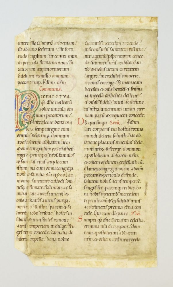 WITH AN EXCELLENT ROMANESQUE WHITE VINE-STEM INITIAL A VELLUM MANUSCRIPT LEAF FROM A. NOTED MISSAL IN LATIN.