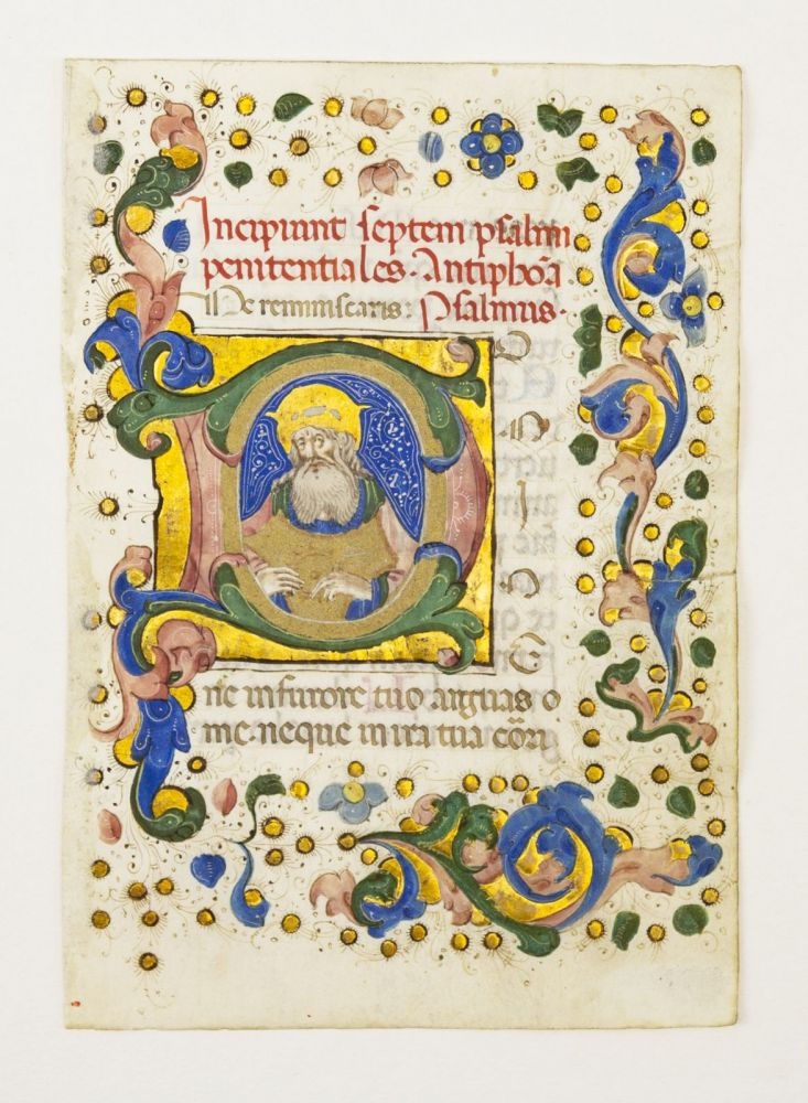 TEXT FROM THE BEGINNING OF THE PENITENTIAL PSALMS. WITH AN HISTORIATED INITIAL OF KING DAVID PLAYING THE HARP AN ILLUMINATED VELLUM MANUSCRIPT LEAF FROM A. BOOK OF HOURS IN LATIN.
