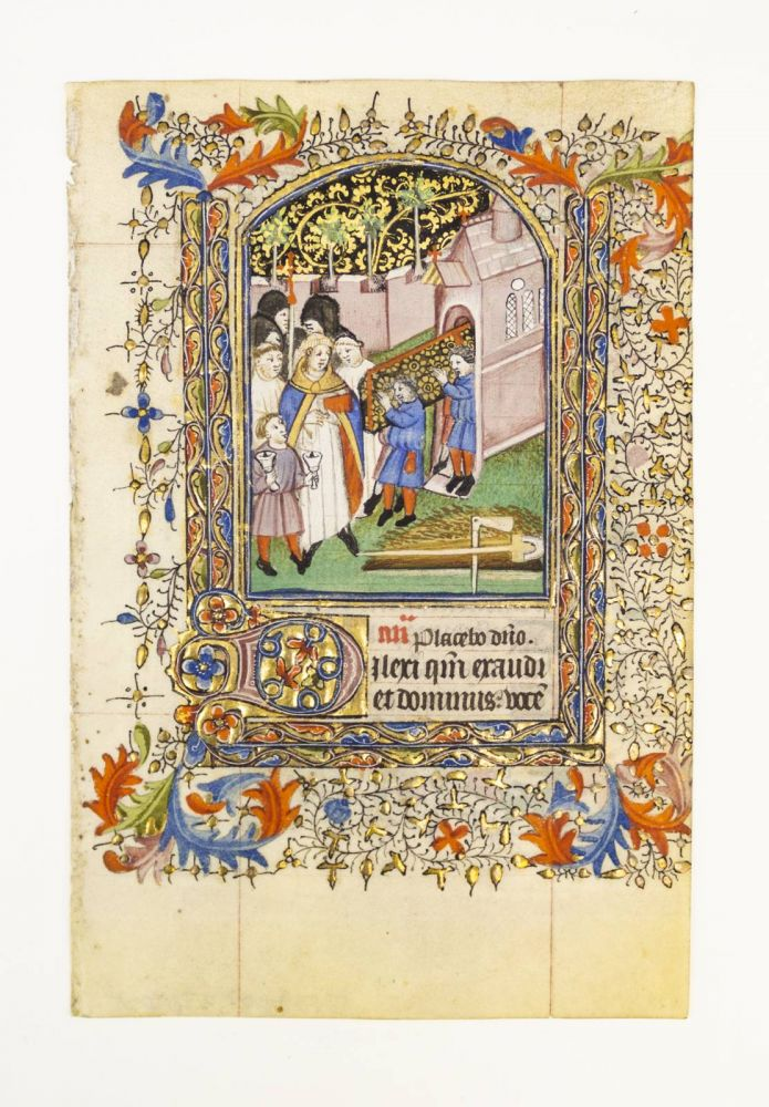 TEXT FROM THE OFFICE OF THE DEAD. FROM A. BOOK OF HOURS IN LATIN AN ILLUMINATED VELLUM MANUSCRIPT LEAF WITH A. MINIATURE DEPICTING A. FUNERAL PROCESSION.