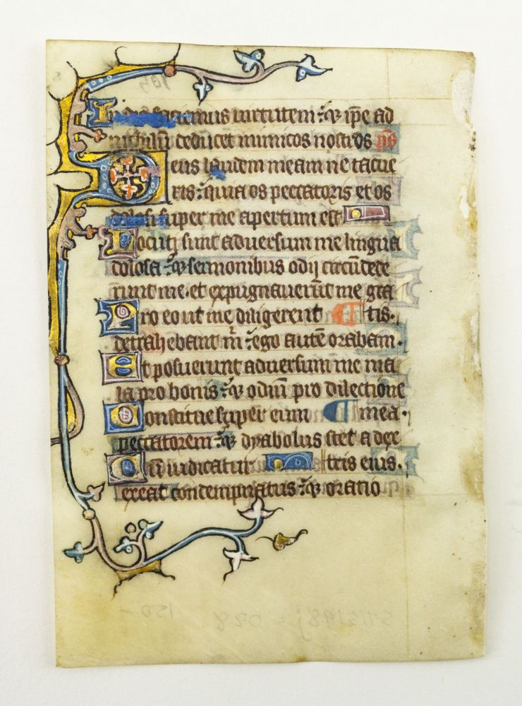 FROM AN ENGLISH PSALTER IN LATIN. OFFERED INDIVIDUALLY ILLUMINATED VELLUM MANUSCRIPT LEAVES.