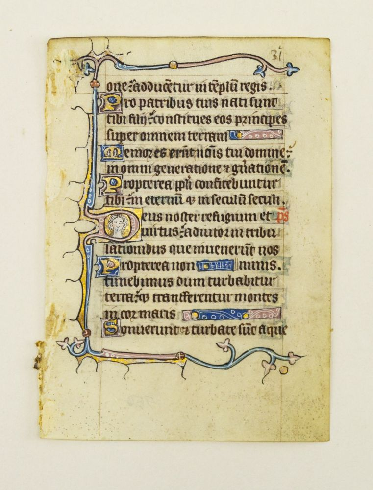 FROM AN ENGLISH PSALTER IN LATIN. OFFERED INDIVIDUALLY ILLUMINATED VELLUM MANUSCRIPT LEAVES, WITH EXAMPLES OF HYBRID CREATURES AND HUMAN FACES.