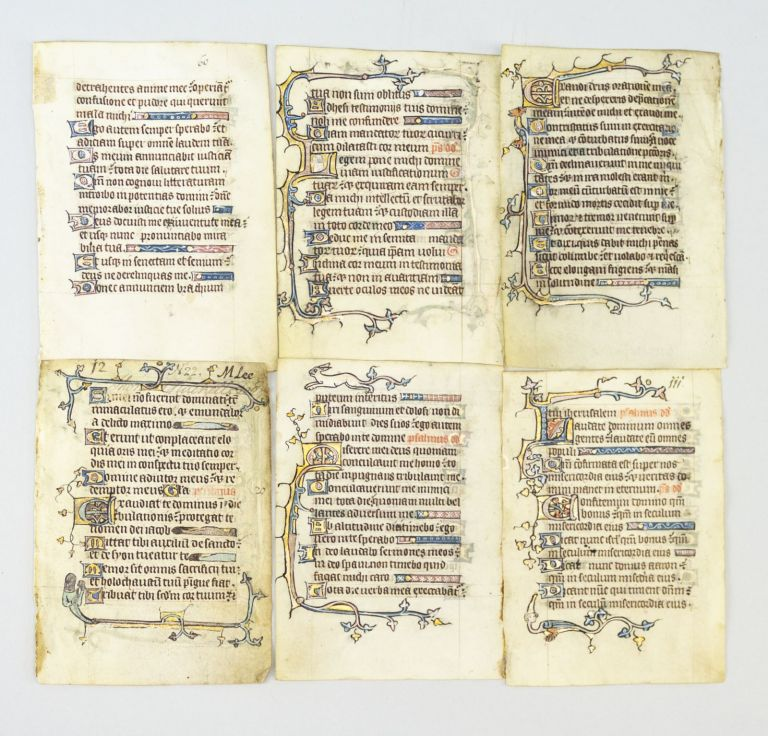 OFFERED INDIVIDUALLY ILLUMINATED VELLUM MANUSCRIPT LEAVES FROM A. PSALTER, SEVERAL WITH HYBRIDS AND HUMAN FACES.