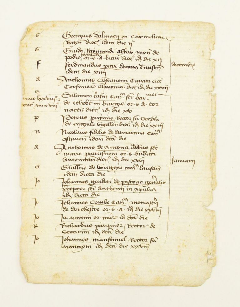OFFERED INDIVIDUALLY SEVEN MANUSCRIPT LEAVES, FROM A. CLERICAL REGISTER ON PAPER.