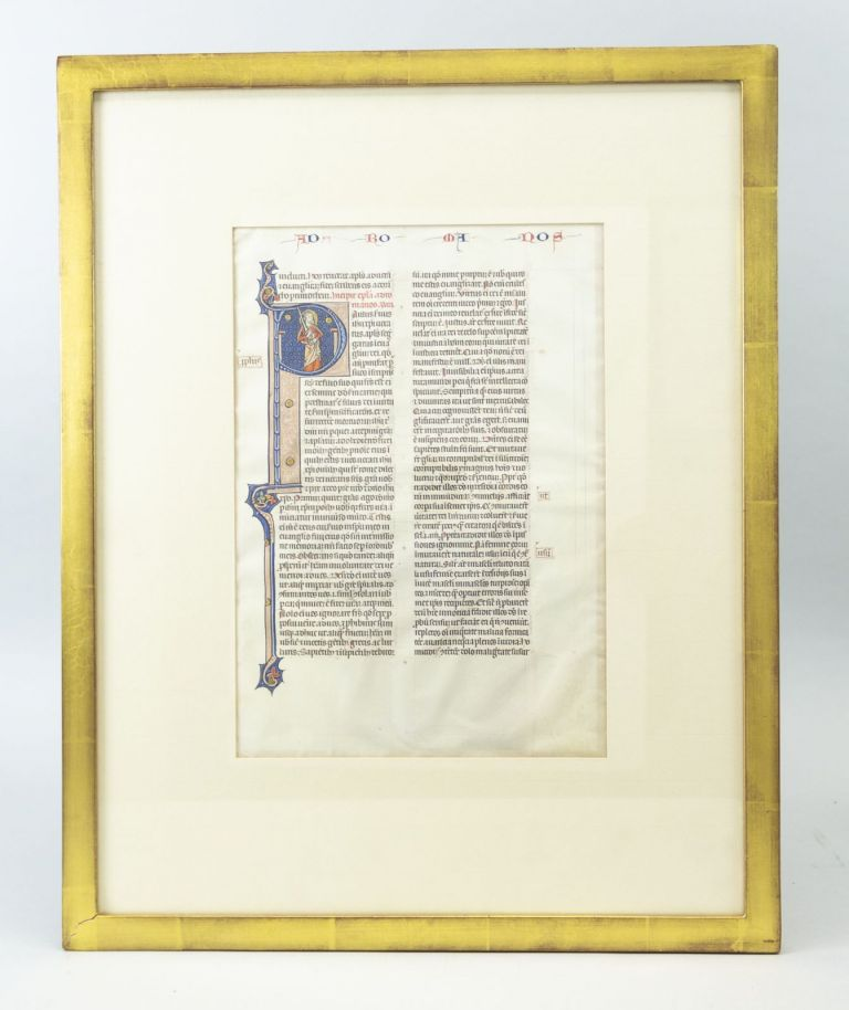 TEXT FROM THE BEGINNING OF ROMANS. FROM AN OUTSTANDING MONUMENTAL BIBLE IN LATIN AN ILLUMINATED VELLUM MANUSCRIPT LEAF WITH A. WONDERFUL HISTORIATED INITIAL.