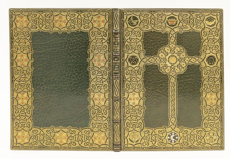"""ILLUMINATED MANUSCRIPT ON VELLUM - MODERN, """" FRANCIS OF ASSISI'S """"THE CANTICLE OF BROTHER SUN, WRITTEN OUT AND PRESUMABLY DESIGNED, AND, SANGORSKI, SUTCLIFFE."""