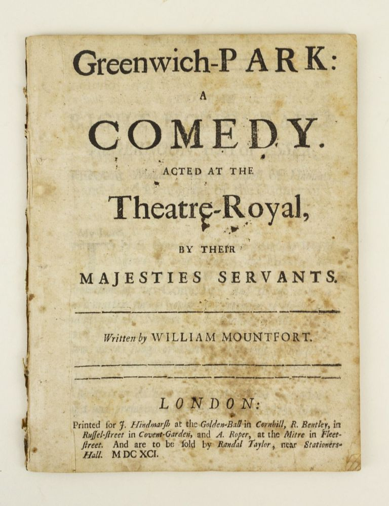 GREENWICH-PARK: A COMEDY. WILLIAM MOUNTFORT.