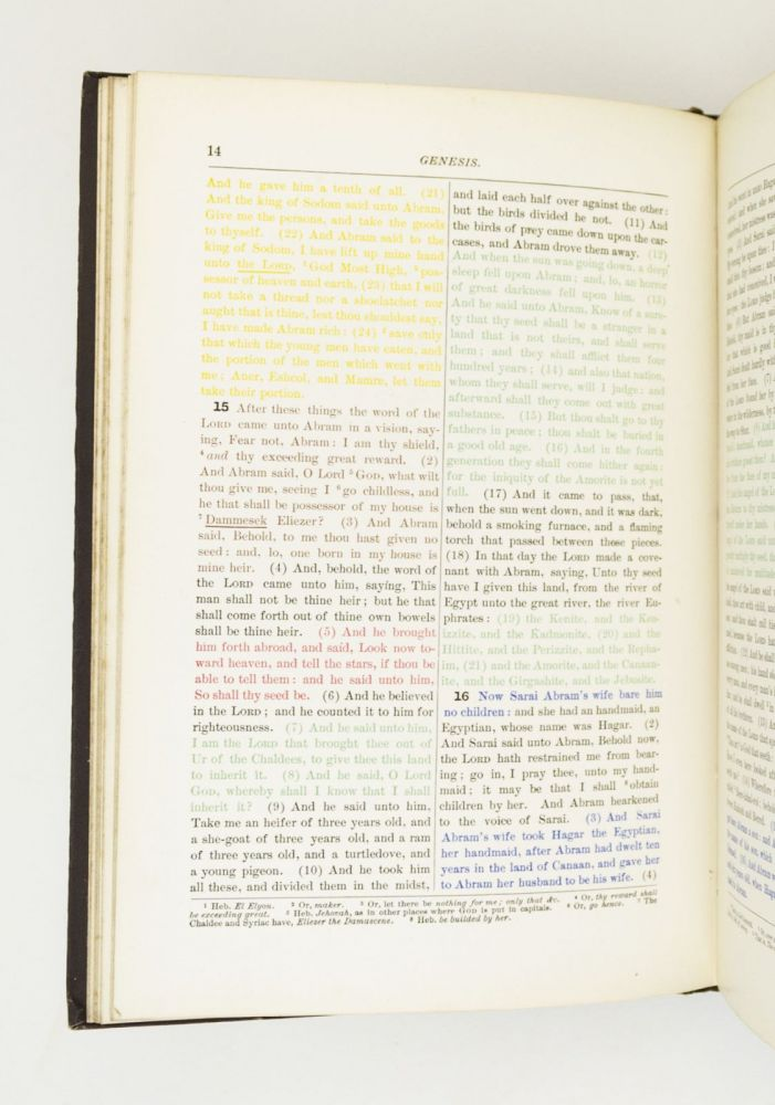 GENESIS PRINTED IN COLORS. SHOWING THE ORIGINAL SOURCES FROM WHICH IT IS SUPPOSED TO HAVE BEEN COMPILED. COLOR PRINTING, EDWIN CONE BIBLE IN ENGLISH. BISSELL.