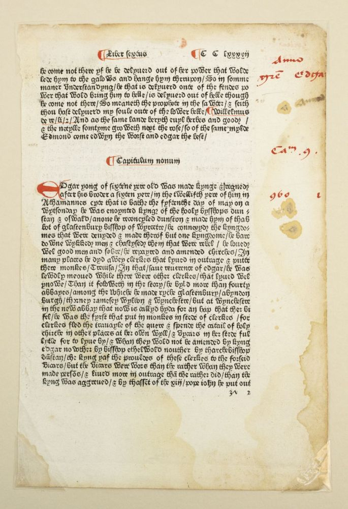 TEXT FROM BOOK SIX, CHAPTER NINE. A PRINTED LEAF FROM CAXTON'S FIRST EDITION OF THE POLYCRONICON IN ENGLISH.