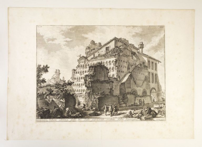 "VEDUTA ESTERNA DELLE TRE SALE SEPOLCRALI, CREDUTE DELLA FAMIGLIA D 'AUGUSTO from LE ANTICHITÀ ROMANE. [""EXTERNAL VIEW OF THE THREE ROOMS OF SEPULCHRES, BELIEVED TO BE FOR THE FAMILY OF AUGUSTUS"" from ROMAN ANTIQUITIES]. GIOVANNI BATTISTA PIRANESI."