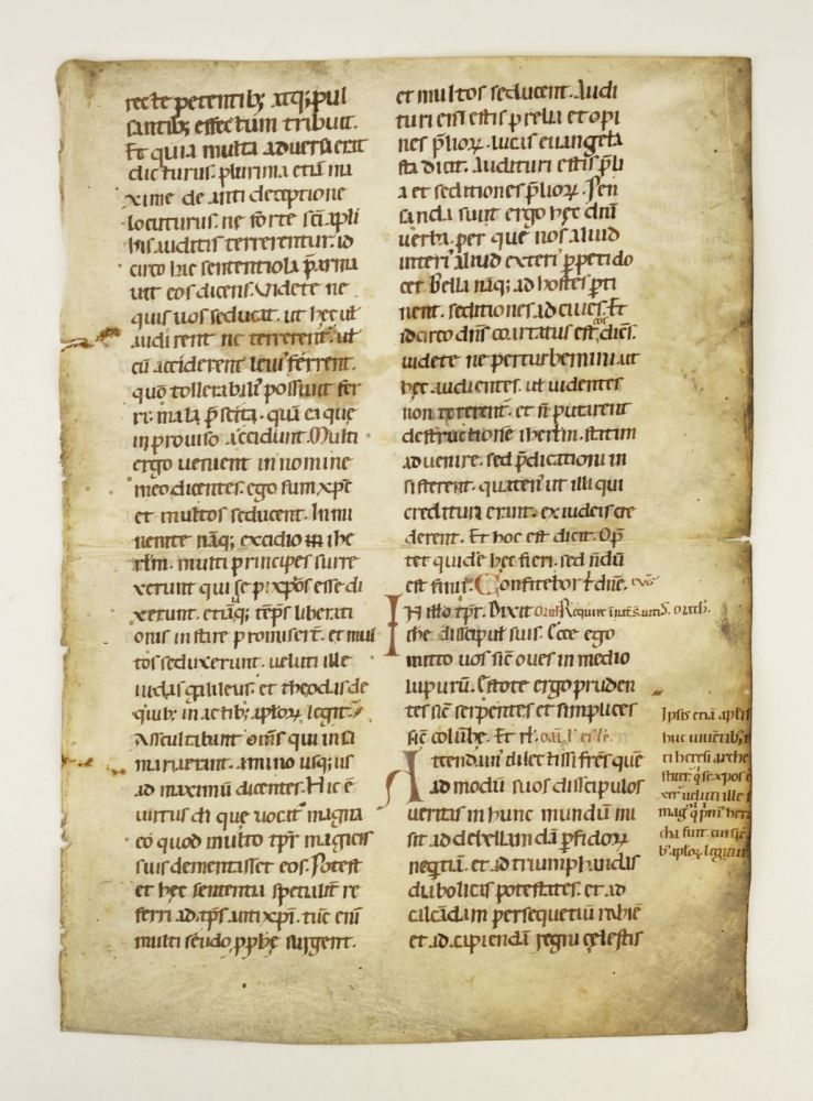 TEXT WITH EXCERPTS FROM MATTHEW 10 AND 24. A VELLUM MANUSCRIPT LEAF FROM A. VERY LARGE LECTIONARY IN LATIN.