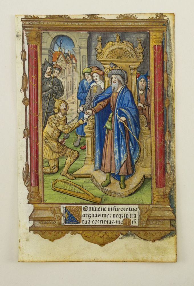 ALL WITH LIVELY BORDERS, AND SOME WITH FINELY HAND-COLORED MINIATURES. VELLUM PRINTING, OFFERED INDIVIDUALLY LEAVES, FROM A. BOOK OF HOURS PRINTED ON VELLUM.