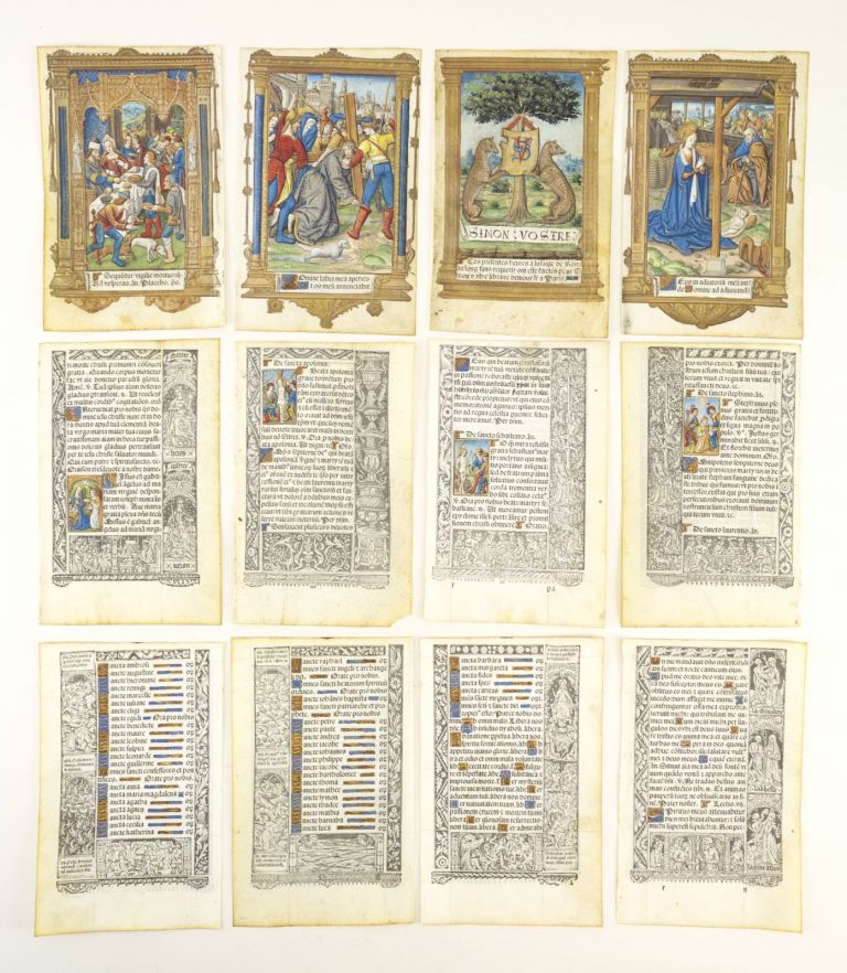 FROM A BOOK OF HOURS PRINTED ON VELLUM, SOME OF THEM WITH FINELY HAND-COLORED MINIATURES. VELLUM PRINTING, OFFERED INDIVIDUALLY LEAVES.