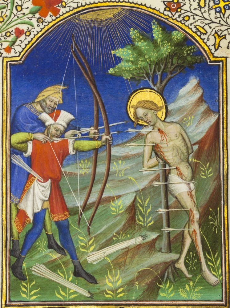 TEXT FROM SUFFRAGES, WITH A PRAYER IN FRENCH INVOKING PROTECTION AGAINST THE PLAGUE. WITH AN OUTSTANDING MINIATURE OF ST. SEBASTIAN AN ILLUMINATED VELLUM MANUSCRIPT LEAF FROM A. BOOK OF HOURS.