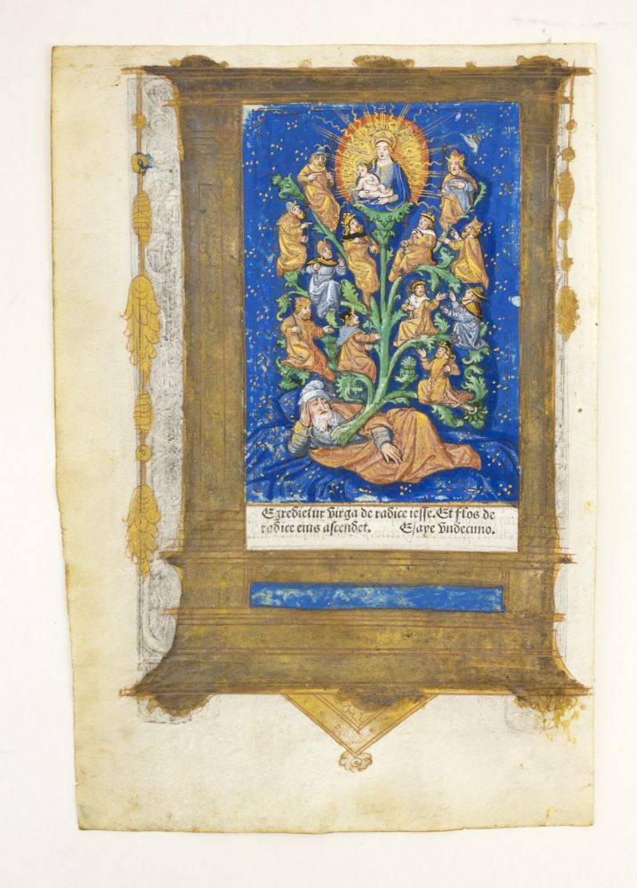 FROM A BOOK OF HOURS IN LATIN, WITH A FULL-PAGE HAND-COLORED MINIATURE OF THE TREE OF JESSE. PRINTED LEAF ON VELLUM.