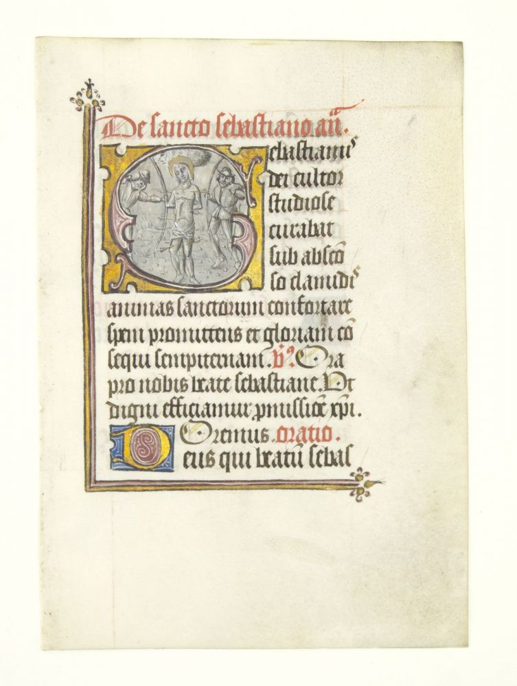 TEXT FROM SUFFRAGES. WITH A. LARGE A VELLUM MANUSCRIPT LEAF FROM A. BOOK OF HOURS IN LATIN, HISTORIATED GRISAILLE INITIAL.