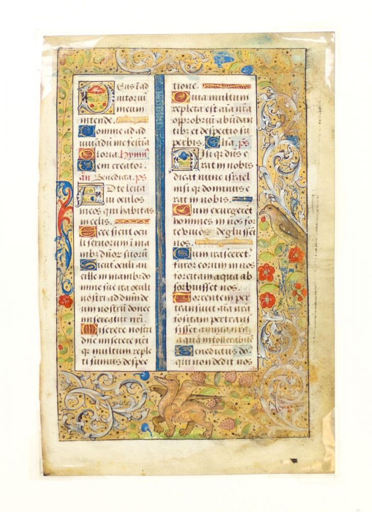 TEXT FROM SEXT IN THE HOURS OF THE VIRGIN. WITH CHARMING BORDER INHABITANTS AN ILLUMINATED VELLUM MANUSCRIPT LEAF FROM A. BOOK OF HOURS IN LATIN.