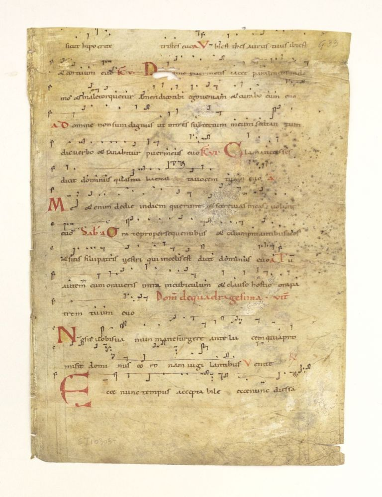 TEXT CONTAINING PART OF THE OFFICES FOR QUADRAGESIMA SUNDAY. FROM AN ANTIPHONARY IN LATIN WITH NEUMES AN EARLY VELLUM MANUSCRIPT LEAF.