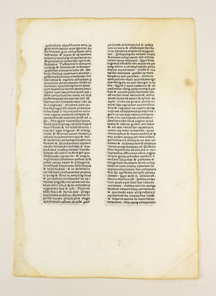 A LEAF FROM THE LETTERS OF ST. JEROME, FIRST PRINTED BY SIXTUS REISSINGER, ROME, ca. 1466-1467. INCUNABULAR LEAF, JEREMY DUQUESNAY HIERONYMUS. . ADAMS, JOHN L. SHARPE III, LEAF BOOK - SIXTUS REISSINGER.