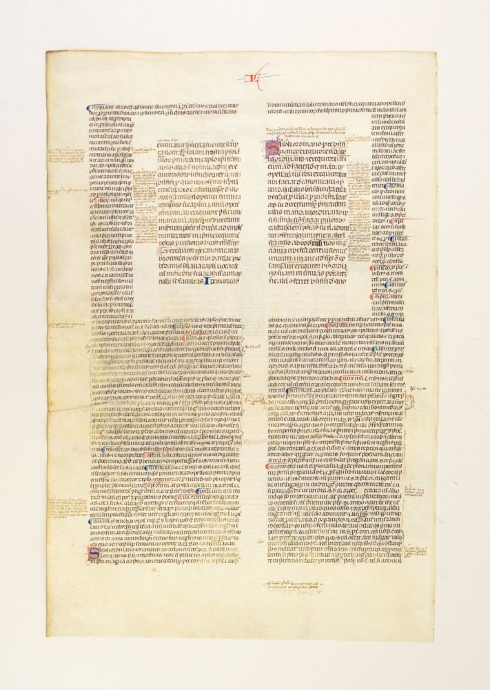 LIBER SEXTUS DECRETALIUM. WITH EXTENSIVE GLOSS AND CONTEMPORARY NOTES A LARGE VELLUM MANUSCRIPT LEAF IN LATIN, FROM BONIFACE VIII'S.