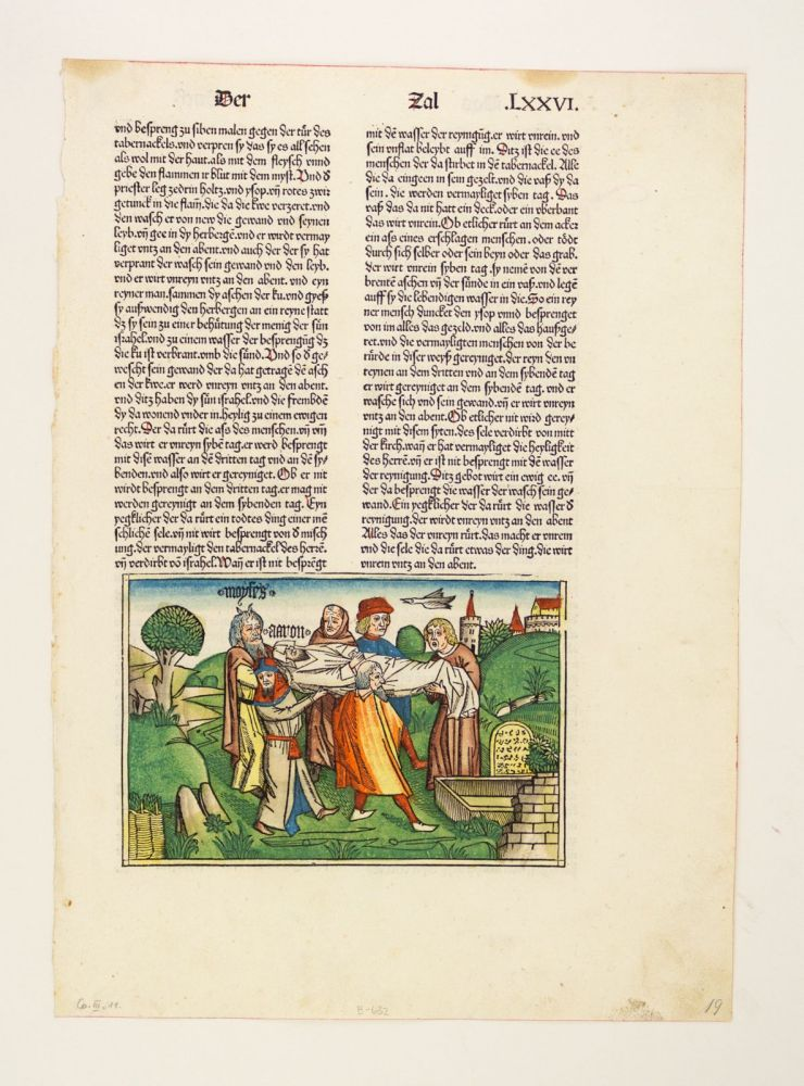 TEXT FROM NUMBERS. INCUNABULAR LEAF WITH WOODCUT, BIBLE IN GERMAN.