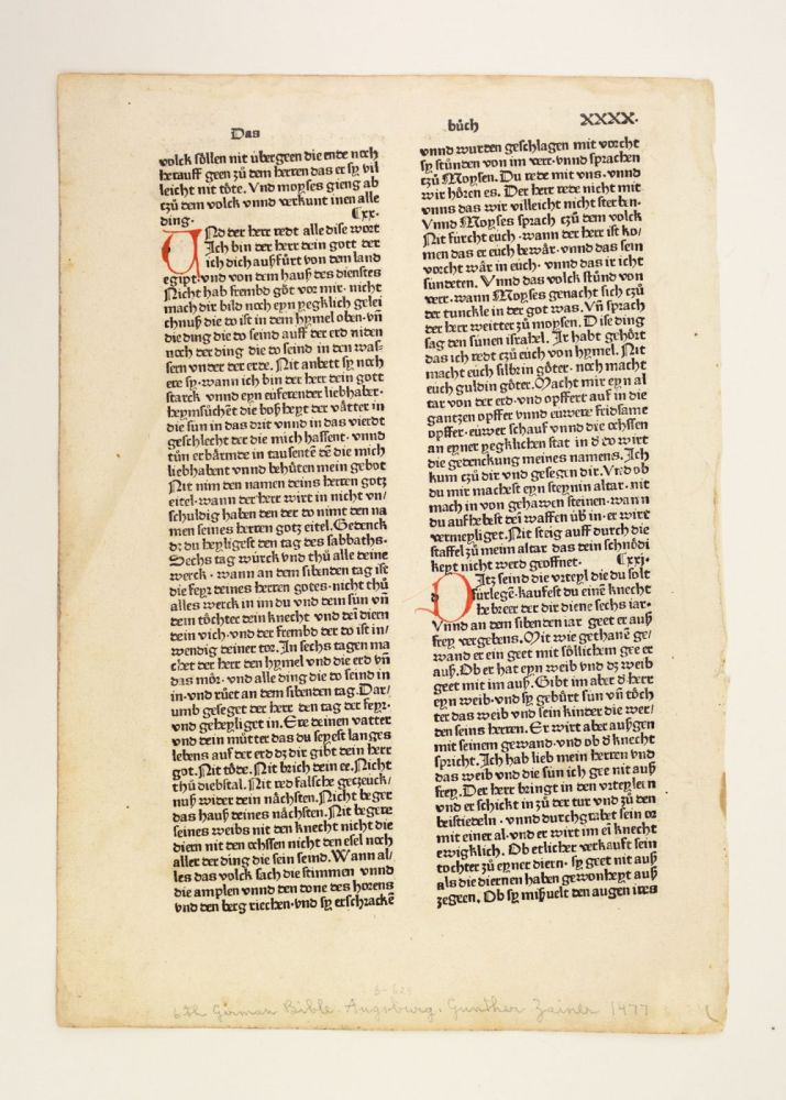 TEXT FROM EXODUS. INCUNABULAR LEAF, BIBLE IN GERMAN.