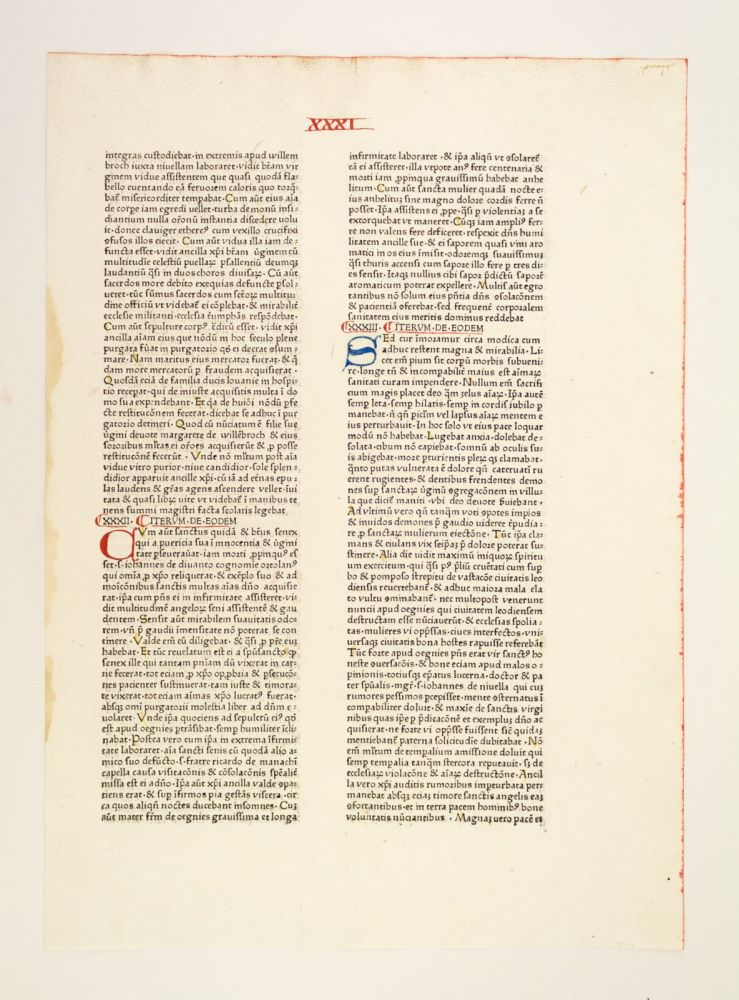 SPECULUM HISTORIALE. INCUNABULAR LEAF, VINCENT OF BEAUVAIS.
