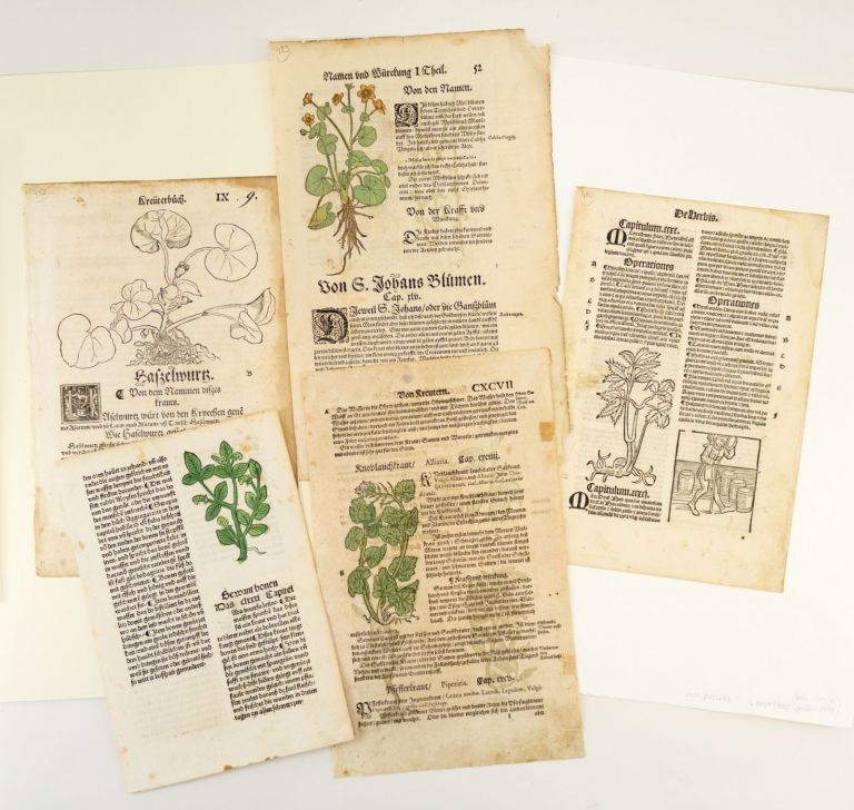 INCLUDING AT LEAST ONE INCUNABLE A COLLECTION OF FIVE LEAVES FROM EARLY PRINTED HERBALS, OFFERED AS A. GROUP.