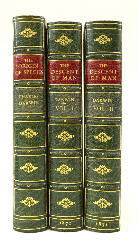 THE DESCENT OF MAN. [with] ON THE ORIGIN OF SPECIES. CHARLES DARWIN, BINDINGS - BAYNTUN.
