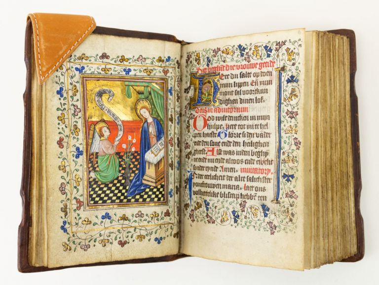USE OF UTRECHT. WITH FIVE ATTRACTIVE MINIATURES A BEAUTIFUL ILLUMINATED VELLUM MANUSCRIPT BOOK OF HOURS IN DUTCH.