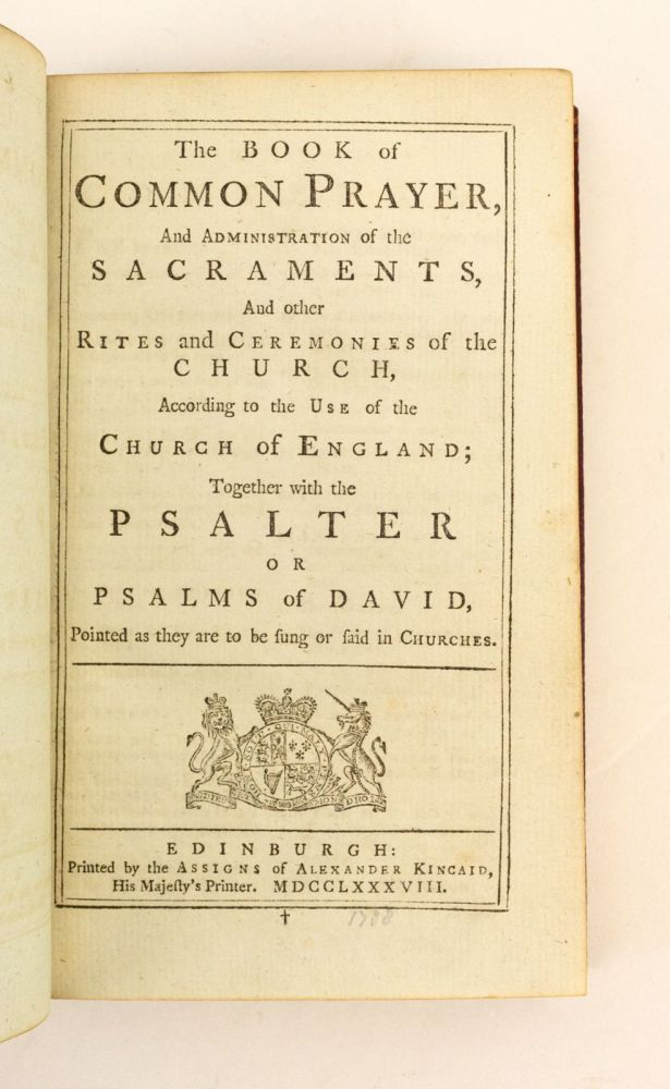 THE BOOK OF COMMON PRAYER. [and] A COMPANION TO THE ALTAR. [with] A NEW VERSION OF THE PSALMS OF DAVID. BINDINGS - 18TH CENTURY SCOTTISH.