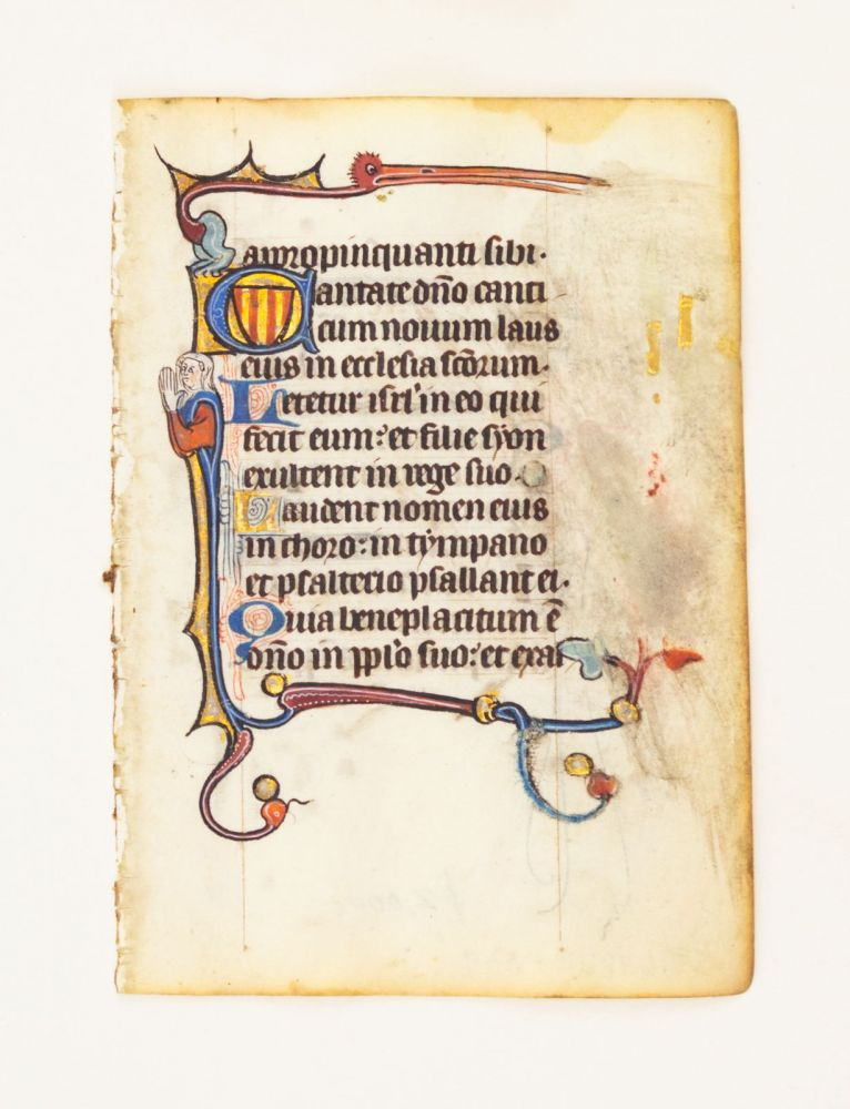 FROM A SMALL PSALTER-HOURS IN LATIN, WITH IMMENSELY CHARMING MARGINALIA. OFFERED INDIVIDUALLY VELLUM MANUSCRIPT LEAVES, WITH IMMENSELY CHARMING MARGINALIA, FROM A. SMALL PSALTER-HOURS IN LATIN.