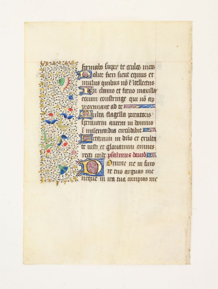 FROM A LARGE BOOK OF HOURS IN LATIN. OFFERED INDIVIDUALLY VELLUM MANUSCRIPT LEAVES.