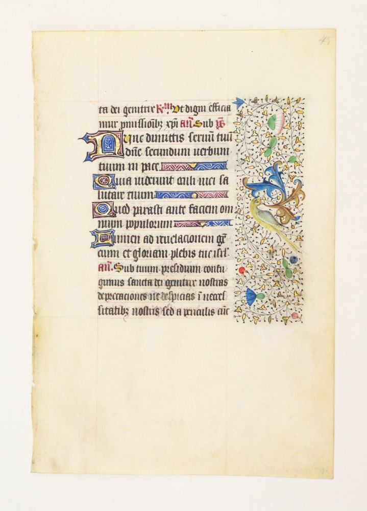 FROM A LARGE BOOK OF HOURS IN LATIN, A VELLUM MANUSCRIPT LEAF WITH CHARMING BORDER DECORATION.