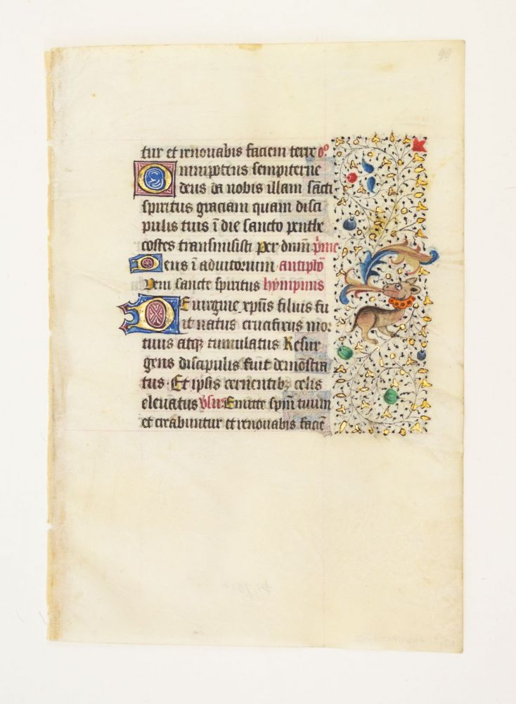 FROM A LARGE BOOK OF HOURS IN LATIN. A VELLUM MANUSCRIPT LEAF.