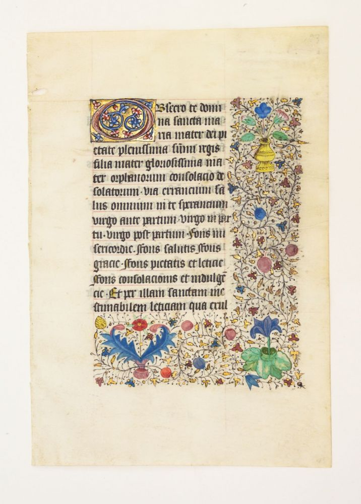 FROM A LARGE BOOK OF HOURS IN LATIN AND FRENCH. OFFERED INDIVIDUALLY VELLUM MANUSCRIPT LEAVES.