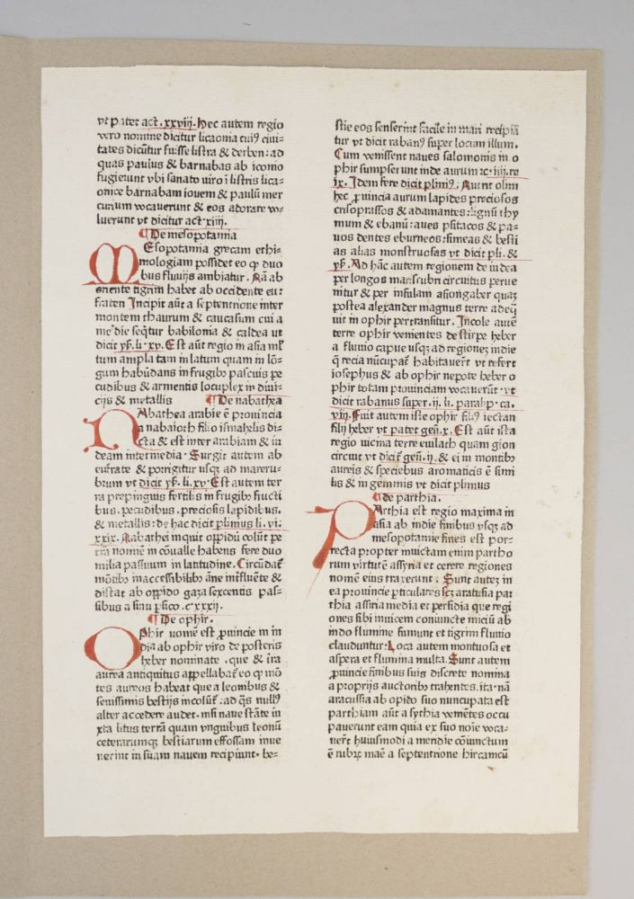 "A PRINTED LEAF FROM ""RUDIMENTUM NOVITIORUM."""