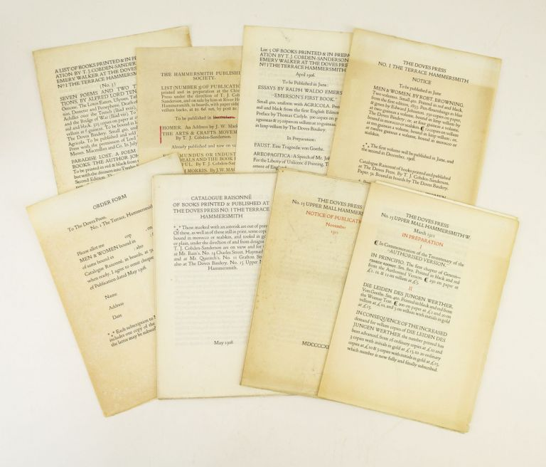 A SELECTION OF 23 ITEMS FROM THE DOVES PRESS, OFFERED AS A COLLECTION. DOVES PRESS - EPHEMERA.