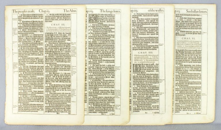 TEXTS FROM NEHEMIAH. OFFERED INDIVIDUALLY PRINTED LEAVES, FROM A. BIBLE IN ENGLISH, THE KING JAMES BIBLE.