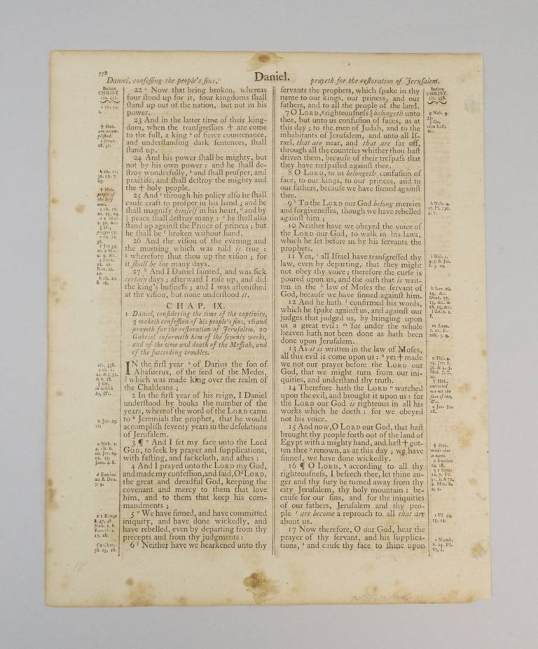 TEXT FROM DANIEL. A PRINTED LEAF FROM A. BIBLE IN ENGLISH.