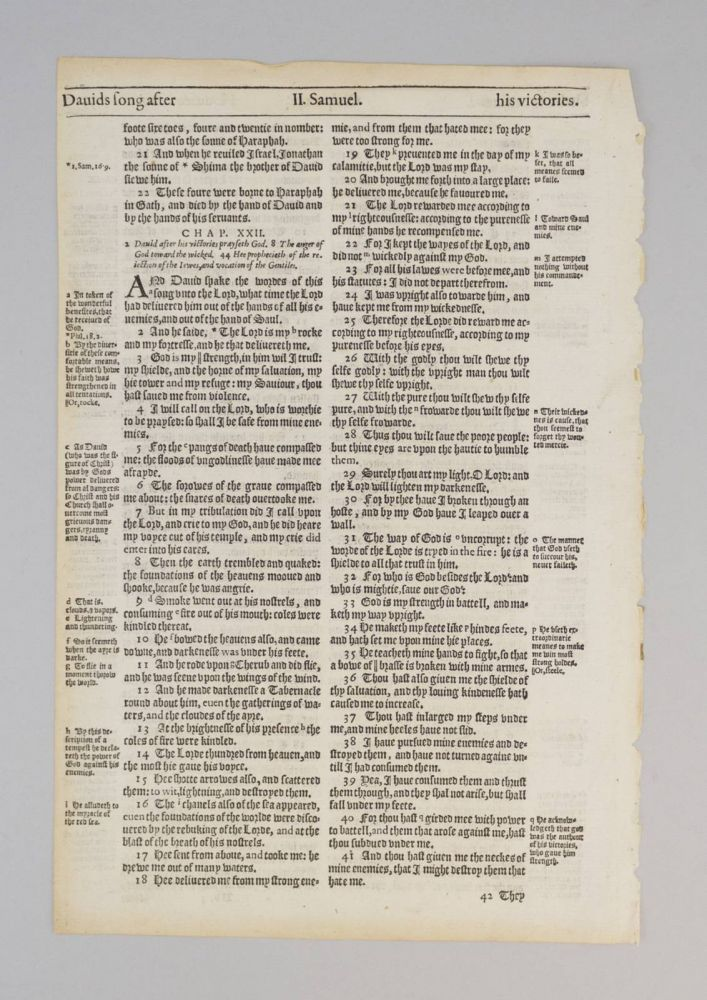 TEXT FROM II SAMUEL. A PRINTED LEAF FROM A. BIBLE IN ENGLISH, THE GENEVA BIBLE.
