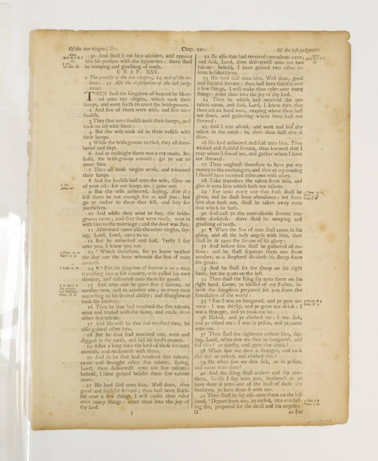 TEXT FROM THE GOSPEL OF MATTHEW. A PRINTED LEAF FROM A. BIBLE IN ENGLISH.