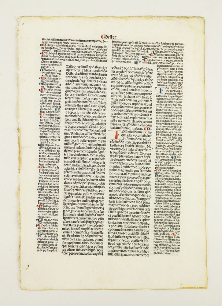 BIBLE IN LATIN. BIBLIA LATINA CUM POSTILLIS NICOLAI DE LYRA. LEAVES FROM PSALMS, SONG OF SONGS, ECCLESIASTICUS, PROVERBS, WISDOM, ESTHER, EZRA, AND NEHEMIAH. OFFERED INDIVIDUALLY PRINTED LEAVES.