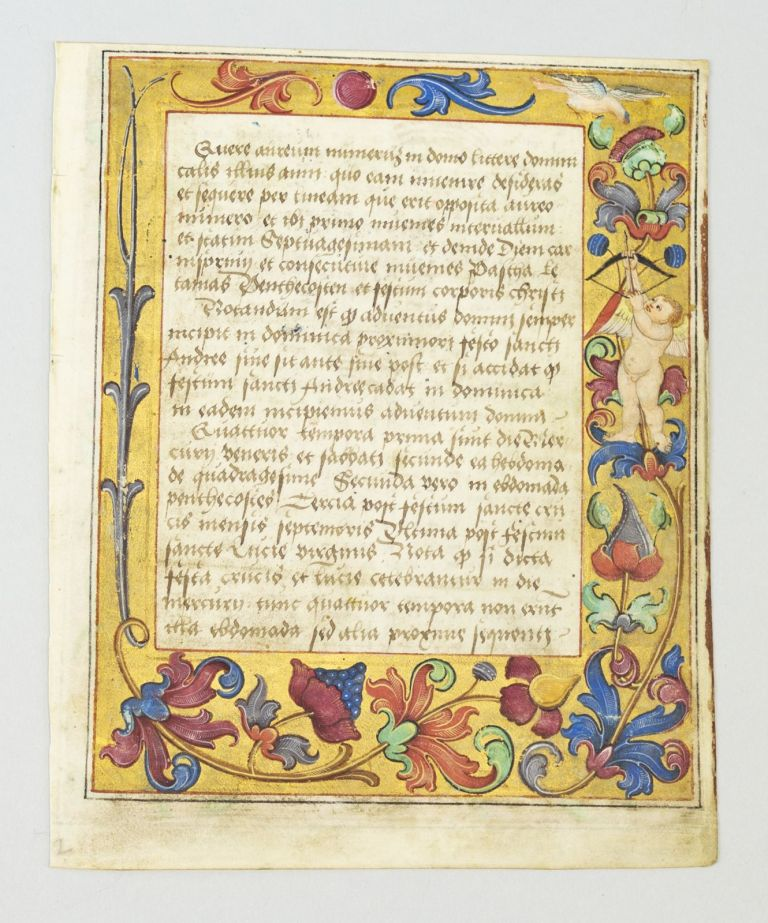 FROM A. PSALTER AND PRAYER BOOK IN LATIN AN ILLUMINATED VELLUM MANUSCRIPT LEAF WITH INHABITED BORDERS.