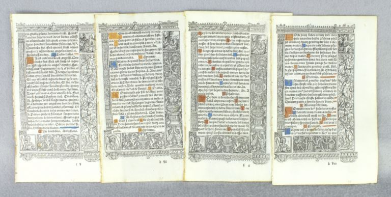 FROM A FINE, LARGE BOOK OF HOURS IN LATIN, PRINTED ON VELLUM. OFFERED INDIVIDUALLY LEAVES.