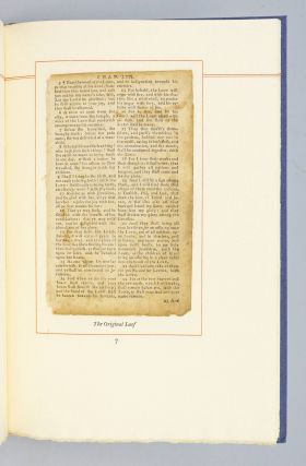 AN ORIGINAL LEAF FROM THE BIBLE OF THE REVOLUTION AND AN ESSAY CONCERNING IT.