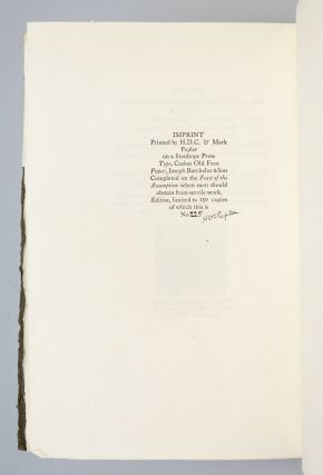 THE HAND PRESS. AN ESSAY WRITTEN AND PRINTED FOR THE SOCIETY OF TYPOGRAPHIC ARTS, CHICAGO, BY H. D. C. PEPLER, PRINTER, FOUNDER OF ST DOMINIC'S PRESS.
