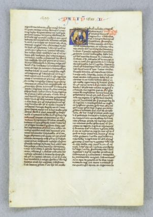 TEXT FROM THE OPENING OF II PARALIPOMENON. FROM AN EARLY BIBLE IN LATIN AN ILLUMINATED AND HISTORIATED VELLUM MANUSCRIPT LEAF.