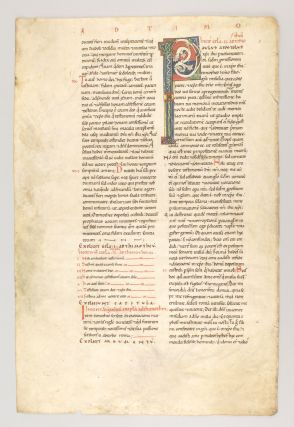TEXT FROM 1 TIMOTHY AND 2 TIMOTHY. A VELLUM MANUSCRIPT LEAF FROM A. GIANT BIBLE IN LATIN